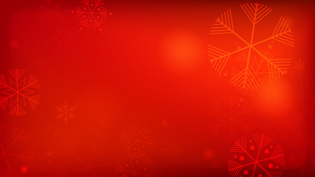 Beautiful Red Christmas Background with Falling Snowflakes. Element of Design with Snow for a Postcard, Invitation Card, Banner, Flyer. Vector Falling Snowflakes on a Red Background. Ilustração