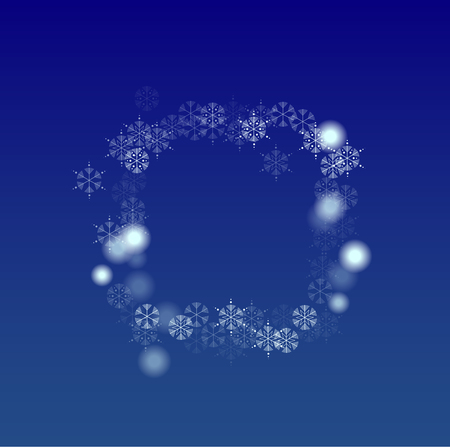 Beautiful Christmas Background with Falling Snowflakes. Element of Design with Snow for a Postcard, Invitation Card, Banner, Flyer. Vector Falling Snowflakes on a Blue Background