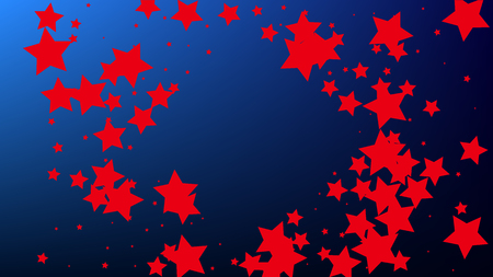 USA Independence Day. Colours of American Flag. Red, Blue and White Stars on Blue Gradient Background. Invitation Background. Banner, Christmas and New Year card, Postcard, Packaging, Textile Print.