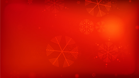Beautiful Red Christmas Background with Falling Snowflakes.  Element of Design with Snow for a Postcard, Invitation Card, Banner, Flyer.  Vector Falling Snowflakes on a Red Winter Background. Vettoriali
