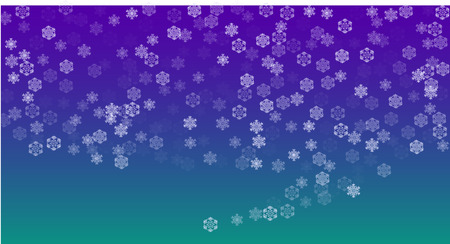Beautiful Christmas Background with Falling Snowflakes.  Element of Design with Snow for a Postcard, Invitation Card, Banner, Flyer.  Vector Falling Snowflakes on a Blue Winter Background Ilustração