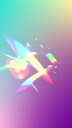 Holographic Light Glitch Effect. Iridescent Background.  Vector Rainbow Gradient with Sunshine Glare.   Mesh Holographic Foil. Trendy Hologram Vector Background. Creative Festive Backdrop.