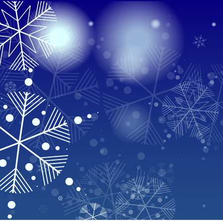Beautiful Christmas Background with Falling Snowflakes. Element of Design with Snow for a Postcard, Invitation Card, Banner, Flyer. Vector Falling Snowflakes on a Blue Background Vetores