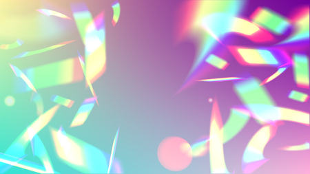 Iridescent Background. Holographic Light Glitch Effect. Vector Rainbow Gradient with Sunshine Glare.   Mesh Holographic Foil. Trendy Hologram Vector Background. Creative Festive Backdrop. Ilustração