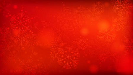 Schöner roter Weihnachtshintergrund mit fallenden Schneeflocken. Fallende Schneeflocken des Vektors auf einem roten Hintergrund. Element des Entwurfs mit Schnee für eine Postkarte, Einladungskarte, Banner, Flyer.