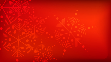Beautiful Red Christmas Background with Falling Snowflakes. Vector Falling Snowflakes on a Red Winter Background. Element of Design with Snow for a Postcard, Invitation Card, Banner, Flyer.