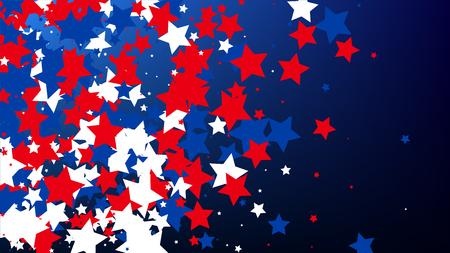 Día de la Independencia de Estados Unidos. Colores de la bandera americana. . Fondo de invitación. Banner, tarjeta de Navidad y año nuevo, postal, embalaje, impresión textil. Ilustración de vector