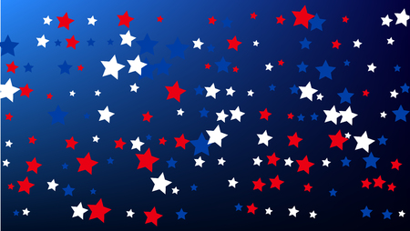 USA Independence Day. Colors of American Flag. . Abstract Background with Many Random Falling Stars Confetti on Blue Background.