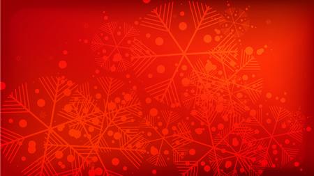 Schneeflocken roter Weihnachtshintergrund. Designelement mit Schnee für eine Postkarte, Einladungskarte, Banner, Flyer. Vektor fallende Schneeflocken auf rotem Grund.