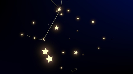 Constellation Map. Magic Cosmic Sky with Many Stars.     Astronomical Print. Dark Galaxy Pattern. Vector Stars Background.