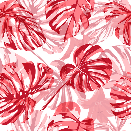 Tropical Print. Exotic Palm Greenery Backdrop. Summer Design for Swimwear. Repeating Illustration. Vector Tropical Seamless Print. Illustration