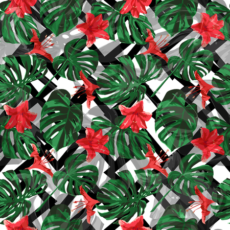 Tropical Plants. Summer Design for Swimwear. Exotic Palm Greenery Backdrop. Repeat Illustration. Vector Tropical Plants Print.