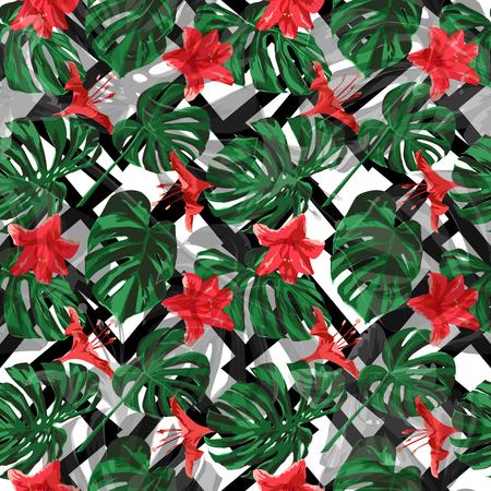 Tropische Pflanzen. Sommer-Design für Bademode. Exotische Palmengrün-Hintergrund. Abbildung wiederholen. Vektor-tropische Pflanzen drucken.