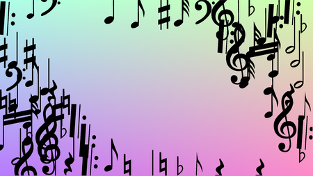 Disco Background. Many Random Falling Notes, Bass and, G Clef. Black Musical Notes Symbol Falling on Hologram Background. Disco Vector Template with Musical Symbols.