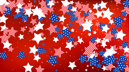 Colors of American Flag: Red, Blue and White. Banner, Greeting Card.  Abstract Background with Many Falling Stars Confetti on Red Backdrop.   Vector Stars Background with Colors of American Flag.