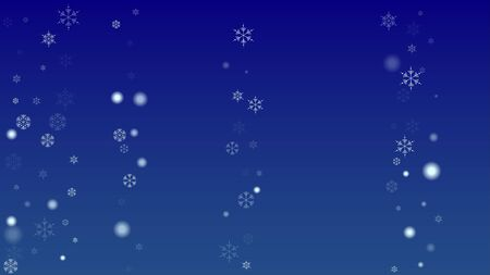 Falling Snowflakes on a Blue Background. Element of Design with Snow for a Postcard, Invitation Card, Banner, Flyer.  Vector Snowflakes Christmas Background