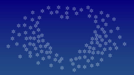 Christmas Background with Falling Snowflakes.  Element of Design with Snow for a Postcard, Invitation Card, Banner, Flyer.  Vector Falling Snowflakes on a Blue Winter Background