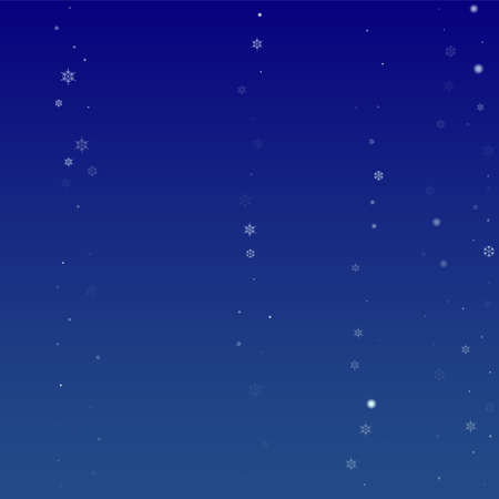 Snowflakes Christmas Background. Element of Design with Snow for a Postcard, Invitation Card, Banner, Flyer.  Vector Falling Snowflakes on a Blue Background