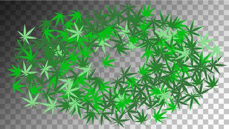 Marijuana Production. Herbal Design. Green Hashish Production.  Abstract  Medical Ganja Texture. Transparent Medicinal Illustration.  Marijuana Production. White Agronomy Silhouette. 矢量图像