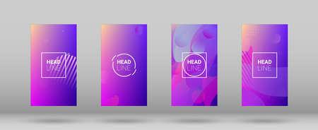 Fluid Shapes. Modern Geometric Pattern. Banner Design Composition. Horizontal Orientation. Set of Colorfull Background.