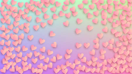 Valentine's Day Background. Many Random Falling Beautifull Hearts on Hologram Backdrop. Flyer Template. Heart Confetti Pattern. Vector Valentine's Day Background. 矢量图像