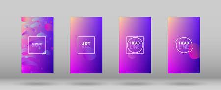 Fluid Shapes. Modern Geometric Pattern. Horizontal Orientation. Banner Design Composition. Set of Gradient Background.
