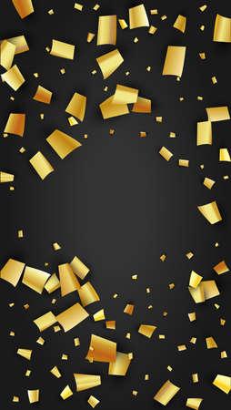 Golden Confetti Falling on Black Backdrop. Trendy Modern Luxury Template. Festive Pattern. Holiday Decoration Elements on Universal Background. Vector Background with Many Golden Confetti.
