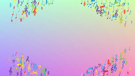 Disco Background. Colorful Musical Notes Symbol Falling on Hologram Background. Many Random Falling Notes, Bass and, Treble Clef. Disco Vector Template with Musical Symbols.