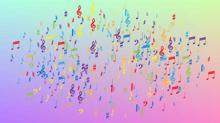 Disco Background. Many Random Falling Notes, Bass and, Treble Clef. Colorful Musical Notes Symbol Falling on Hologram Background. Disco Vector Template with Musical Symbols. 矢量图像