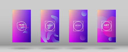 Fluid Shapes. Horizontal Orientation. Banner Design Composition. Modern Geometric Pattern. Set of Colorfull Background. 向量圖像