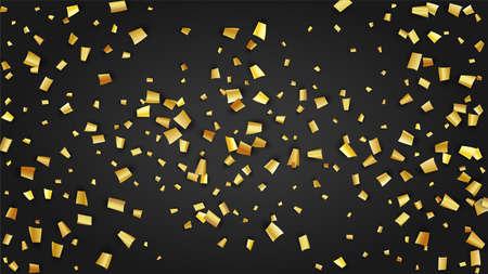 Golden Confetti Falling on Black Backdrop. Holiday Decoration Elements on Universal Background. Festive Pattern. Trendy Modern Luxury Template. Vector Background with Many Golden Confetti.