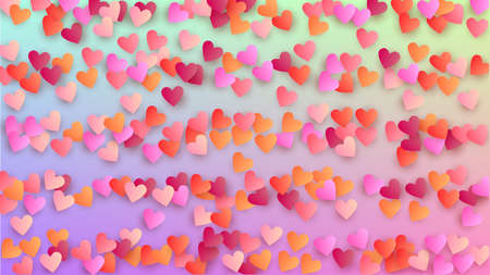 Valentine's Day Background. Heart Confetti Pattern. Many Random Falling Pink Hearts on Hologram Backdrop. Banner Template. Vector Valentine's Day Background.