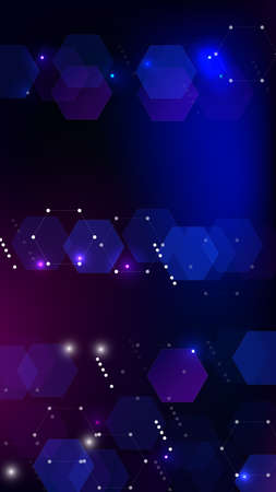 Blockchain Technology Background. Vertical Template BG for Mobile Device. Digital Tehnology Backdrop. Futuristic Cyberspace with Hexagon Fractals. Vector  Technology Blockchain Background.