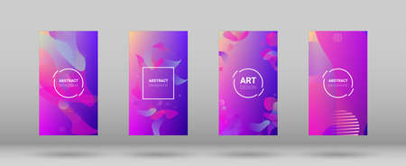 Fluid Shapes. Horizontal Orientation. Modern Geometric Pattern. Banner Design Composition. Set of Gradient Background. 向量圖像