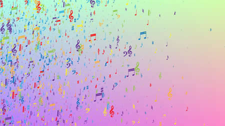 Disco Background. Colorful Musical Notes Symbol Falling on Hologram Background. Many Random Falling Notes, Bass and, G Clef. Disco Vector Template with Musical Symbols.