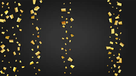 Golden Confetti Falling on Black Backdrop. Festive Pattern. Holiday Decoration Elements on Universal Background. Trendy Modern Luxury Template. Vector Background with Many Golden Confetti. 免版税图像 - 156521888