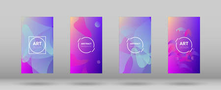Fluid Shapes. Horizontal Orientation. Modern Geometric Pattern. Banner Design Composition. Set of Gradient Background. 矢量图像