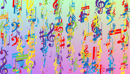 Disco Background. Many Random Falling Notes, Bass and, G Clef. Colorful Musical Notes Symbol Falling on Hologram Background. Disco Vector Template with Musical Symbols.