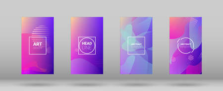 Fluid Shapes. Banner Design Composition. Horizontal Orientation. Modern Geometric Pattern. Set of Colorfull Background.