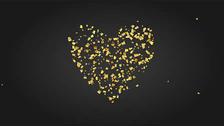 Golden Confetti Falling on Black Backdrop. Holiday Decoration Elements on Universal Background. Trendy Modern Luxury Template. Festive Pattern. Vector Background with Many Golden Confetti.