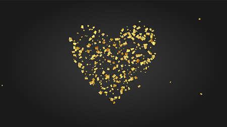 Golden Confetti Falling on Black Backdrop. Holiday Decoration Elements on Universal Background. Trendy Modern Luxury Template. Festive Pattern. Vector Background with Many Golden Confetti.