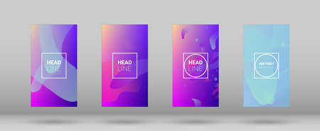 Fluid Shapes. Banner Design Composition. Modern Geometric Pattern. Horizontal Orientation. Set of Colorfull Background.