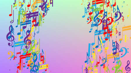 Disco Background. Many Random Falling Notes, Bass and, G Clef. Colorful Musical Notes Symbol Falling on Hologram Background. Disco Vector Template with Musical Symbols. 免版税图像 - 156771924