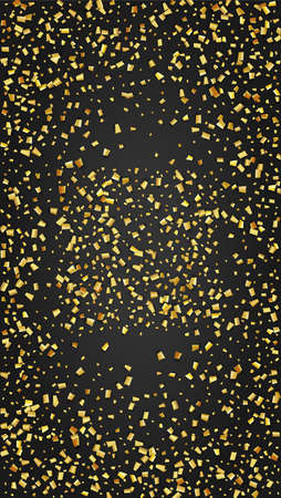 Golden Confetti Falling on Black Backdrop. Trendy Modern Luxury Template. Holiday Decoration Elements on Universal Background. Festive Pattern. Vector Background with Many Golden Confetti. 免版税图像 - 156771925