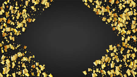 Golden Confetti Falling on Black Backdrop. Festive Pattern. Trendy Modern Luxury Template. Holiday Decoration Elements on Universal Background. Vector Background with Many Golden Confetti.