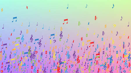 Disco Background. Colorful Musical Notes Symbol Falling on Hologram Background. Many Random Falling Notes, Bass and, G Clef. Disco Vector Template with Musical Symbols. 免版税图像 - 156771928