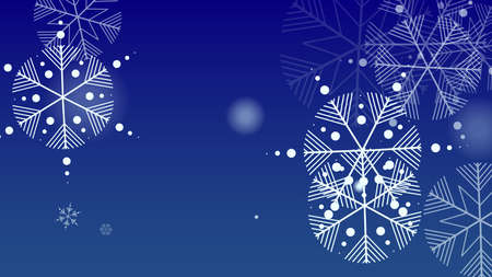 Snowflakes Christmas Background. Element of Design with Snow for a Postcard, Invitation Card, Banner, Flyer.  Vector Falling Snowflakes on a Blue Background 免版税图像 - 156771930