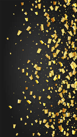 Golden Confetti Falling on Black Backdrop. Festive Pattern. Holiday Decoration Elements on Universal Background. Trendy Modern Luxury Template. Vector Background with Many Golden Confetti.