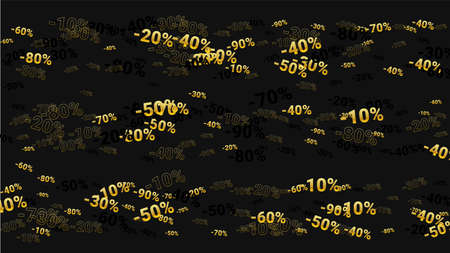Percent Sings on Dark Background. Black Poster with Silver Percent Sings and Snowflakes. Vector Discount Sale Background. 免版税图像 - 156771933
