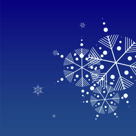 Snowflakes Christmas Background. Element of Design with Snow for a Postcard, Invitation Card, Banner, Flyer.  Vector Falling Snowflakes on a Blue Background 免版税图像 - 156771934